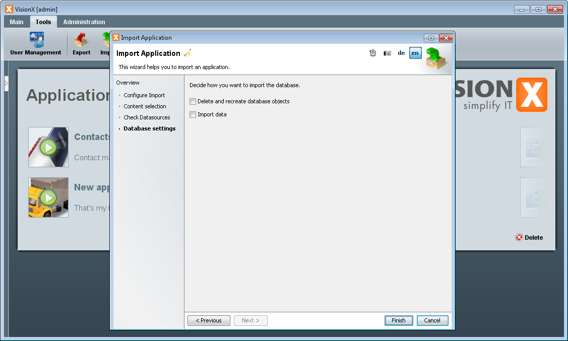 Import Application - Step 4 - Database Settings