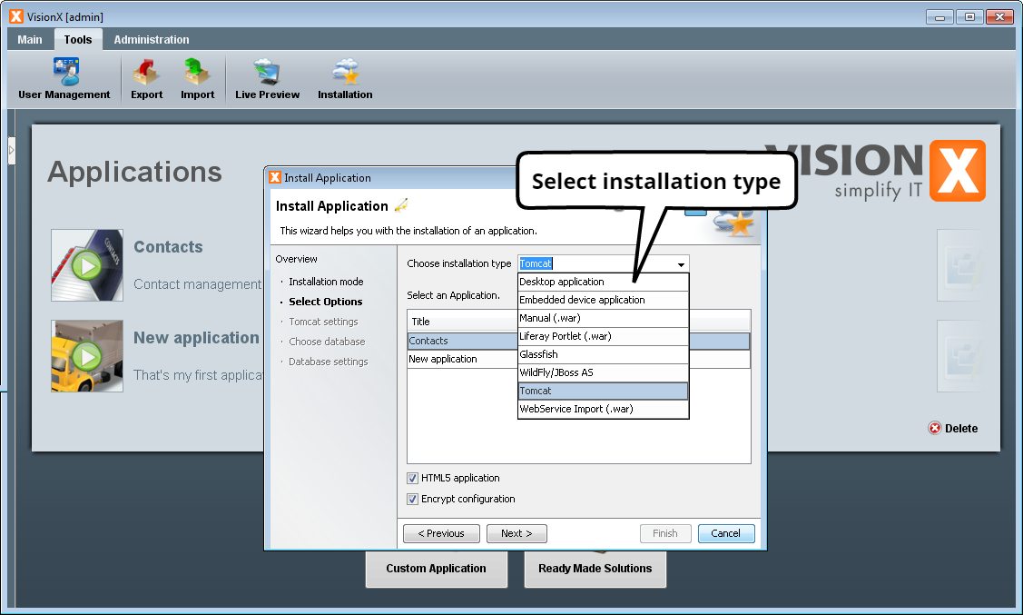 Application Installation - Step 2 - Select Application Server/Installation Type