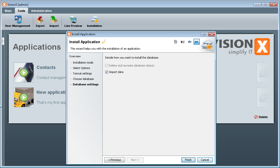 Application Installation - Step 5 - Database Settings