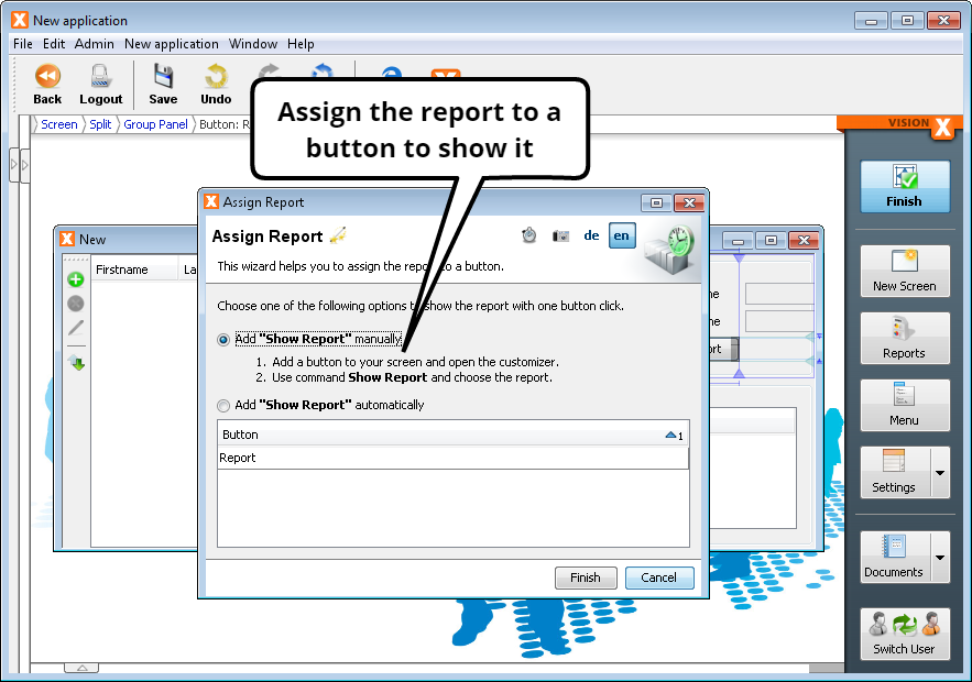 "Create Report - Assign ""Show Report"" Action to a Button"
