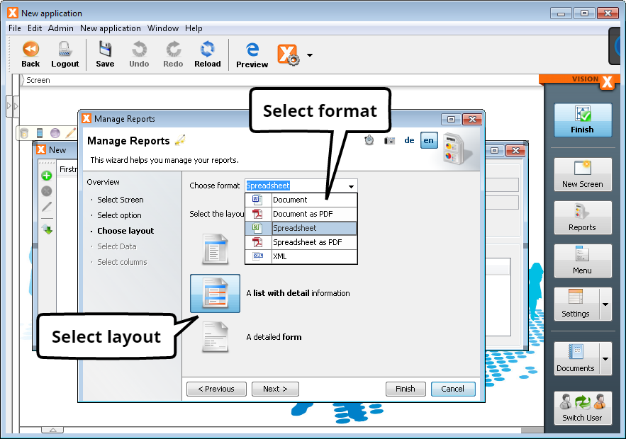 Create Report - Step 3 - Select Layout