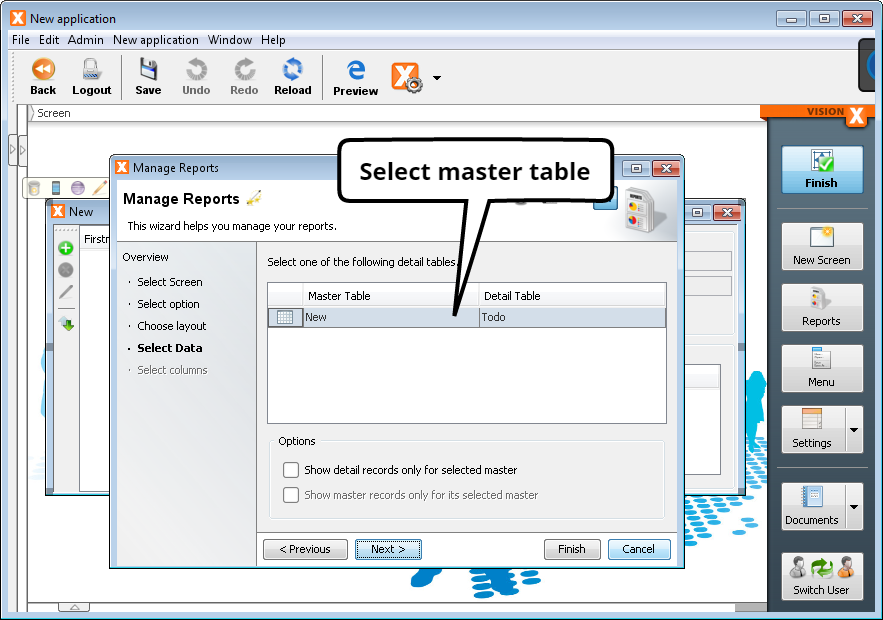 Create Report - Step 4 - Select Data/Master Table