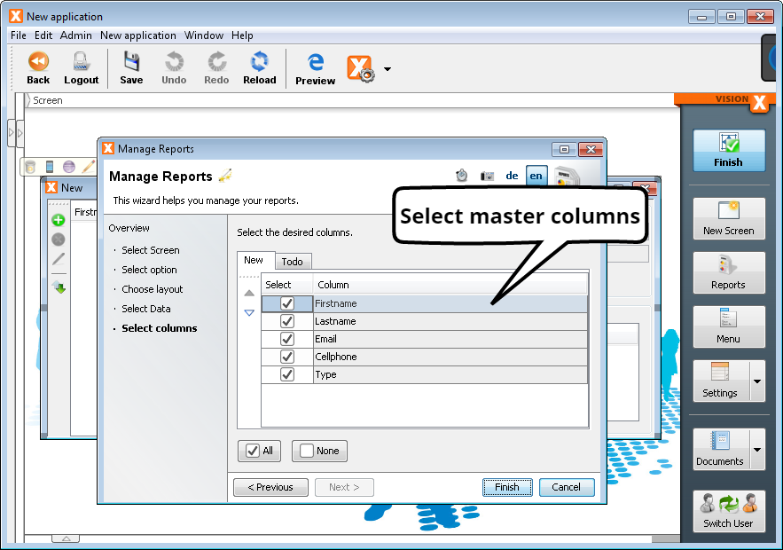 Create Report - Step 5a - Select Master Columns