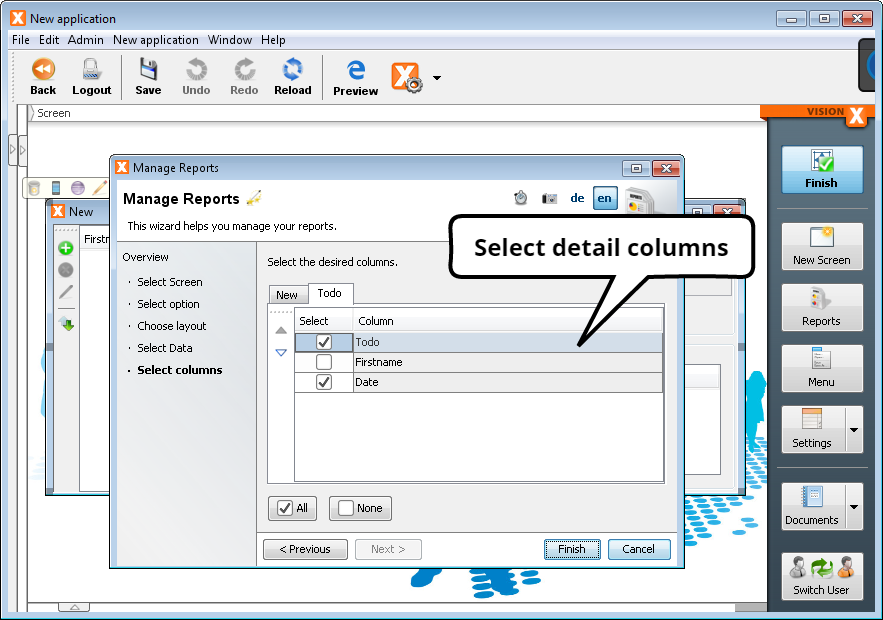 Create Report - Step 5b - Select Detail Columns