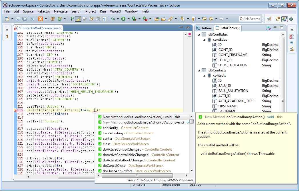 "The code completion of Eclipse showing the ""fitting"" functions that can be used as actions."