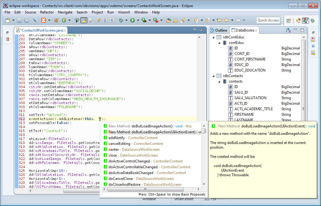 The code completion of Eclipse showing the two templates that can be inserted.