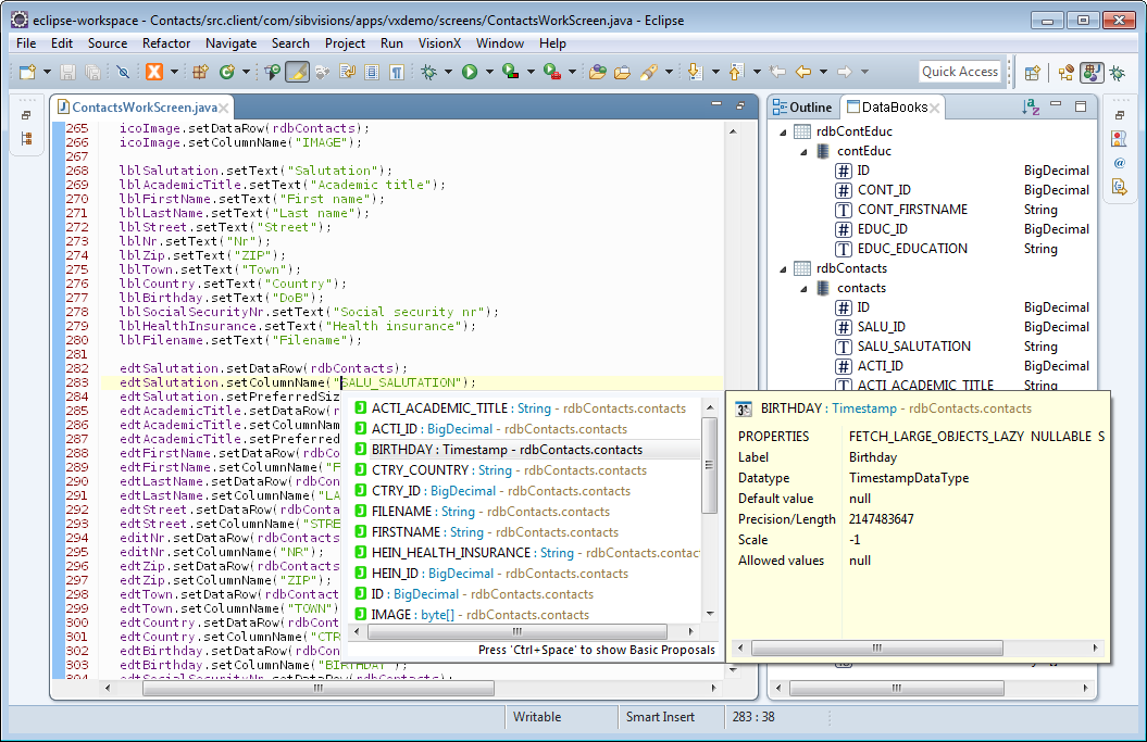 A screenshot of Eclipse showing multiple EPlug features at once.