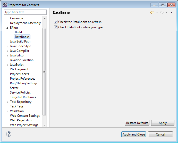 The project preferences with the DataBook node selected.