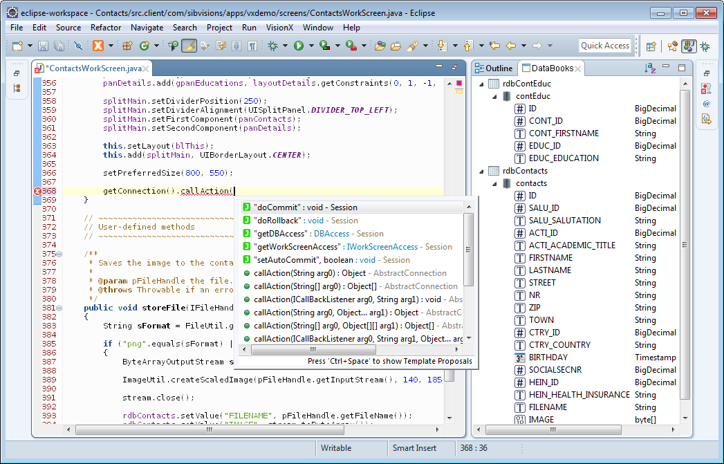 The code completion of Eclipse showing the available server side functions