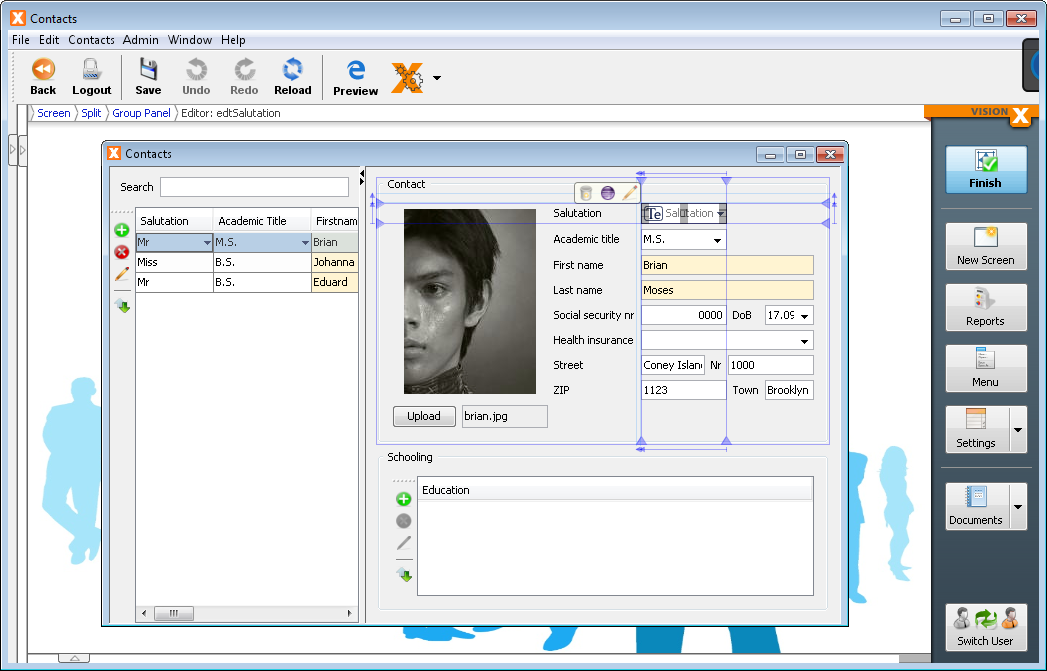 VisionX in Design Mode with the customizer open on an editor.