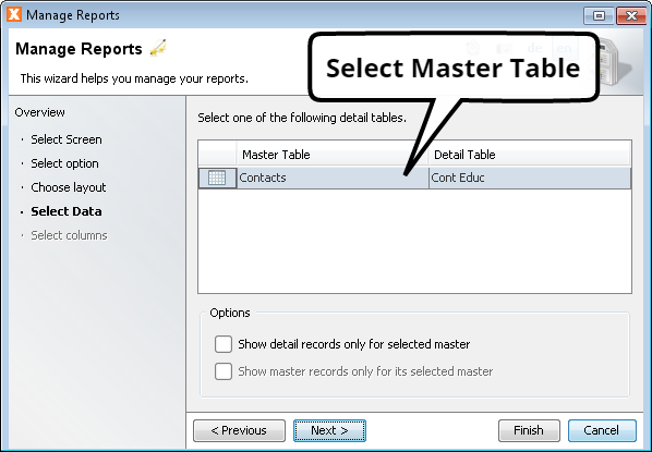 Create Report Wizard - Select Master Table