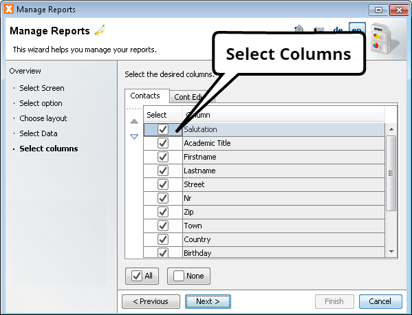 Create Report Wizard - Select Columns