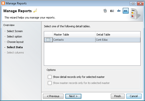 Manage Reports - Select Datasource