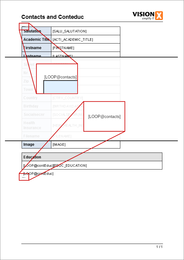 Report - Document Template with highlighted loops