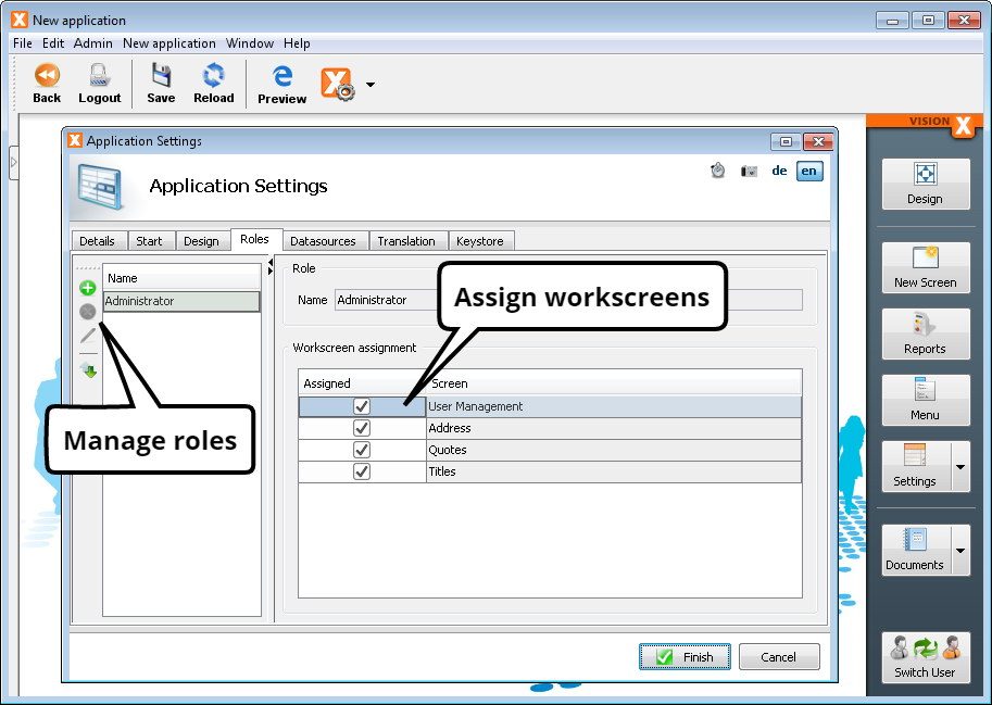 Application Settings - Manage Roles