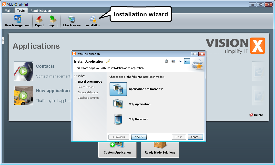 Install Application - Step 1 - Select Installation Mode