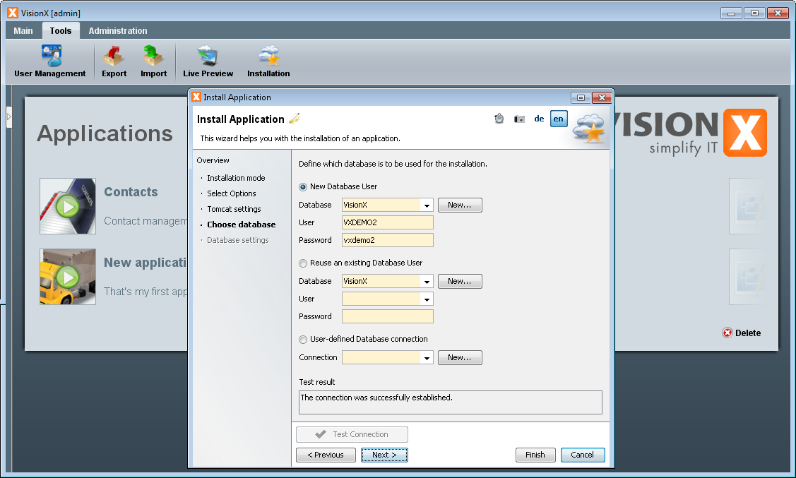 Application Installation - Step 4 - Select Database