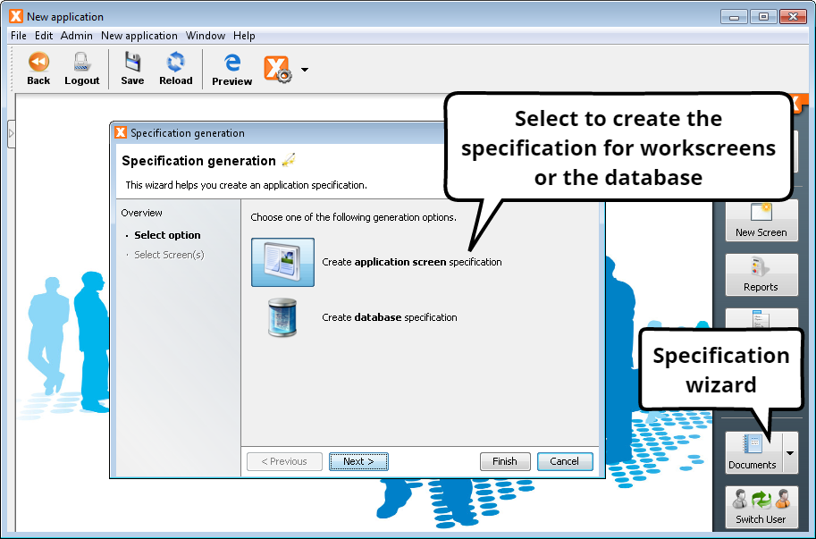 Create Specification / Data Model - Select Option