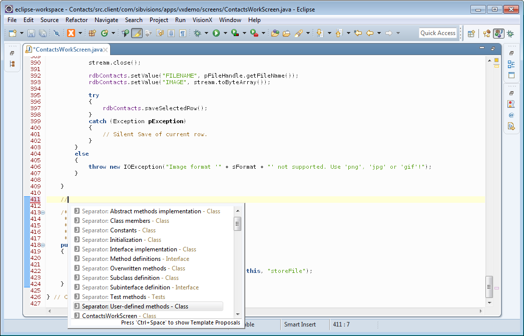 The code completion of Eclipse showing the default separators.