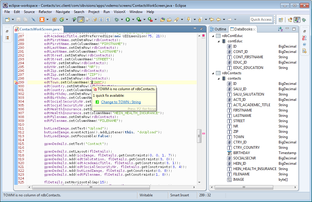 The workscreen source with a mistyped column name being highlighted.