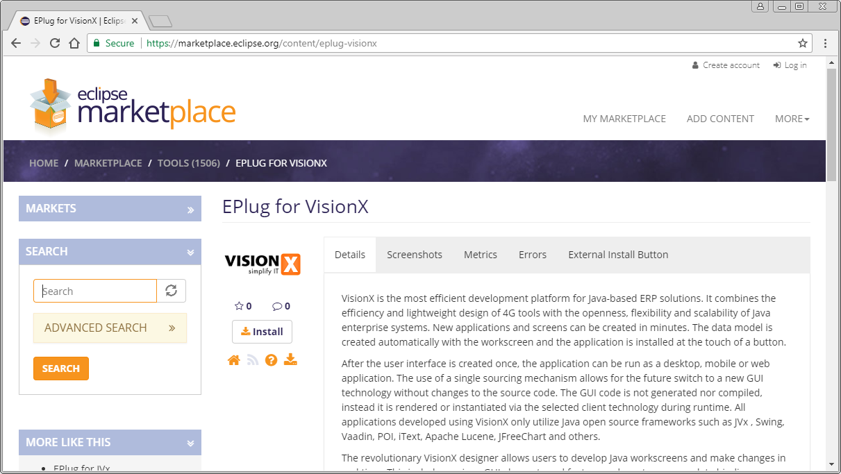The EPlug-VisionX marketplace page.
