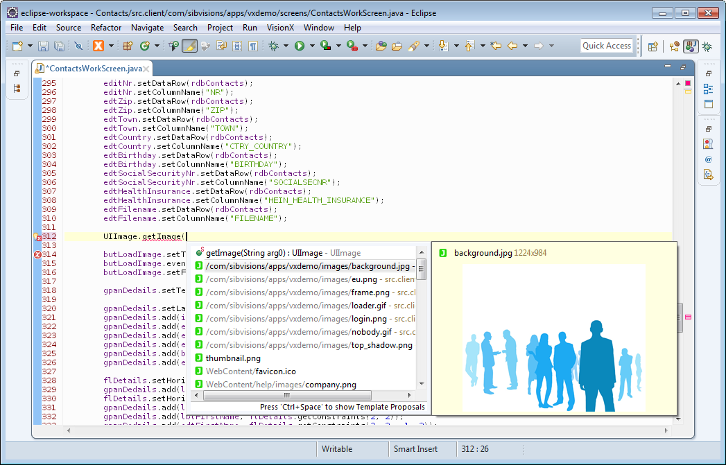 The code completion of Eclipse showing the available resources