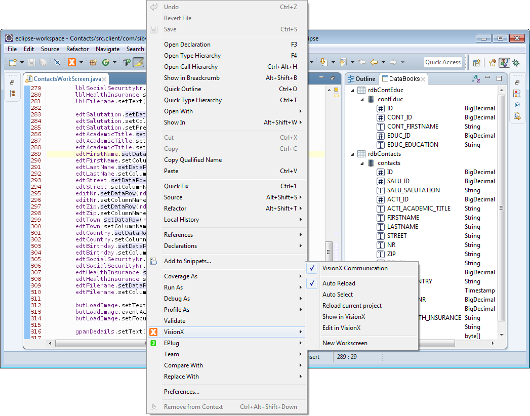The VisionX context menu that can be accessed in the editor.