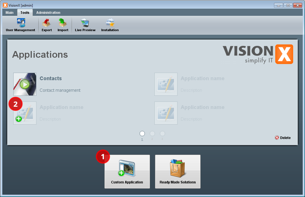 The VisionX main window.
