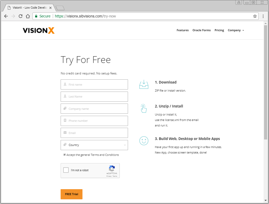 The VisionX homepage with the Trial registration page.