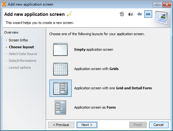 Selecting an Application screen with one Grid and Detail Form