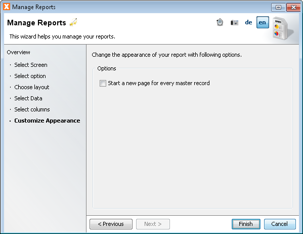 Manage Reports - Customize Appearance