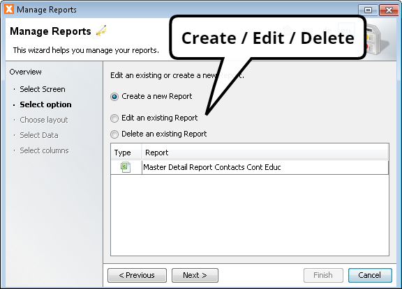Manage Reports - Select Option